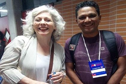 Silas Gomes ao lado da soprano inglesa Sophie Daneman, na 37ª Oficina de Música de Curitiba. Foto: Divulgação