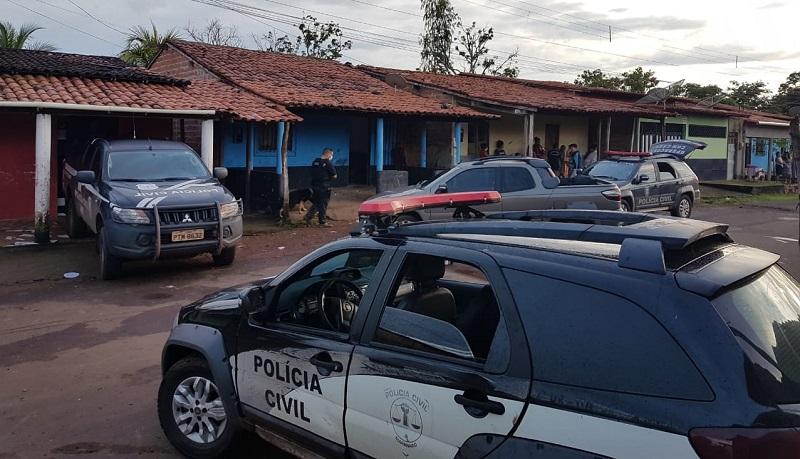 Policiais em batidas da Operação Tarô, Miranda do Norte. Foto: Divulgação