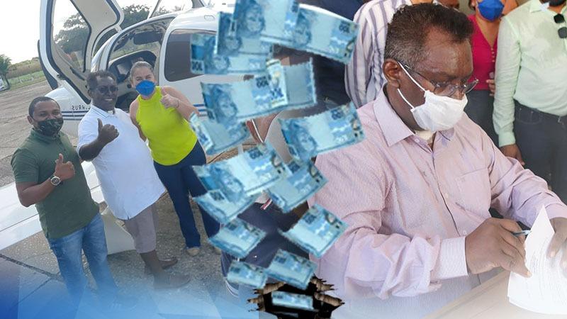 Prefeito Domingos Costa assinando termo de posse e embarcando em avião fretado. Foto Ilustração