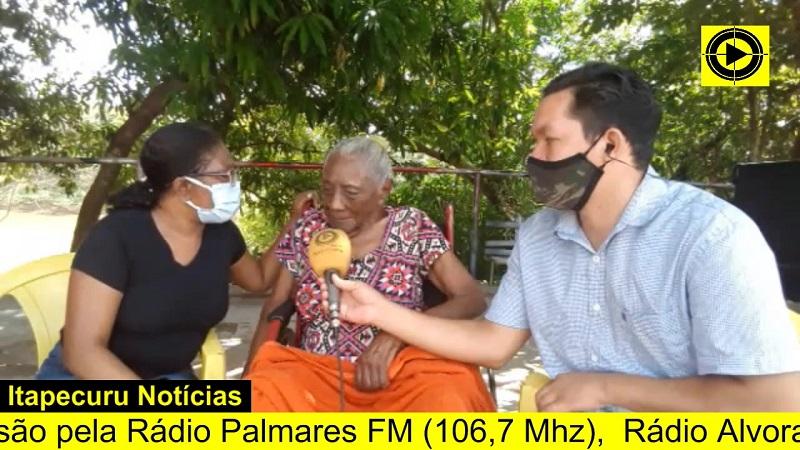 Dona Joana da Silva em entrevista à Itapecuru Webtv. Foto: Reprodução