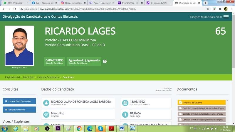 Página do TSE com dados do Sistema DivulgacandContas onde apenas Ricardo Lages aparece como candidato